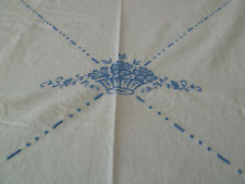 "Vintage DAMASK Tablecloth Off White Ivory Linen Antique 72"" x 68"" Blue Flowers"
