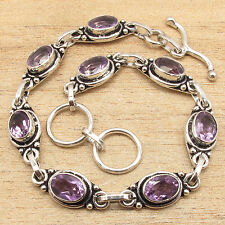 "8"" Natural AMETHYST Gems Fashionable Bracelet ! 925 Silver Plated"