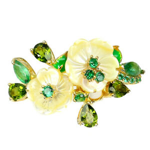 Marquise Emerald Chrome Diopside Mop Cz 925 Sterling Silver Flower Ring Size 7