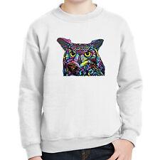 Cool colorful Owl  Kids Sweatshirt hippie retro owl Long Sleeve - 1779C