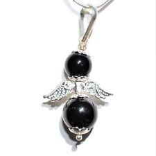 "Himalayan Black Tourmaline Crystal Bead Angel Pendant + 20"" Silver Chain"