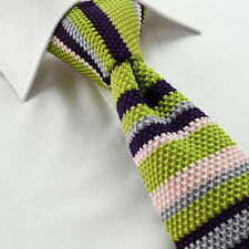 Knit Hand-Made Striped Mens Boys Knitted Cotton Ties Skinny Slim Red Blue Green