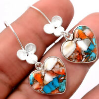 Heart Spiny Oyster Turquoise 925 Sterling Silver Earrings Jewelry 1190