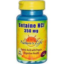 Betaína HCl, 350 MG, 100 comprimidos, ácido gástrico con la pepsina-Nature 's Life