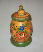 Old Antique Vtg Ca 1900s Small Paint Decorated Box With Lid Tulips Birds Nice