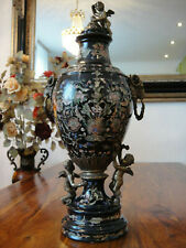 Deckelvase Porzellan Bronze Prunkvase Antik Barock Luxus Vase Urne Pokal Engel