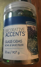 Decorative Accent Glass Gem Round Flat Green Frost Clear Marble Vase Filler 32oz