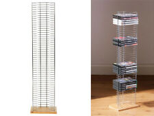 DVD STORAGE RACK TOWER UNIT CHROME WOOD BASE FLOORSTANDING HOLDS 50 DVD'S DISPLA