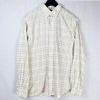 Ralph Lauren Mens L Button Down Shirt Classic Ivory Multi Color Plaid Large