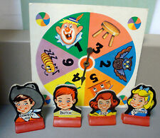 old Chutes and Ladders game pieces - Butch, Cowboy Joe, Bonnie, Sis, and spinner