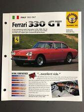 "1963 1967 Ferrari 330 GT Coupe IMP ""Hot Cars"" Spec Sheet Folder Brochure Awesome"