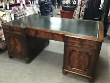 More details for large antique style walnut twin pedestal partners leather top writing desk