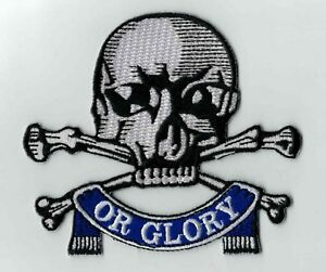 Death or Glory skull and bones iron on patch 17th/21st -  Queen's Royal Lancers