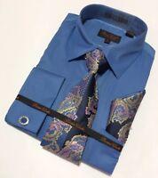 Men's BRUNO CONTE French Cuff Dress Shirt Necktie Hanky Cufflinks Set Blue 1078