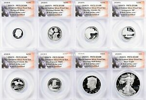 2018-S Limited Edition Silver Proof Set First Strike ANACS Proof-70 Deep Cameo
