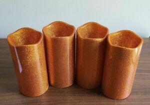 4pcs Orange  Glitter Flameless Battery Operated Pillar Candle 5 inch