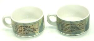 Pair 2 SOUP MUGS Ceramic CHICKEN SOUP FOR THE SOUL Inspirational QUOTES