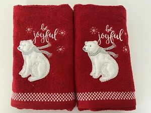 Two Christmas 100% Polar Bear Cotton Hand Towels in Red 'Be Joyful' 40cm x 70cm