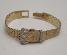 14K VINTAGE SWISS LADIES WRISTWATCH with 14K SOLID GOLD & 17 DIAMONDS WATCHBAND