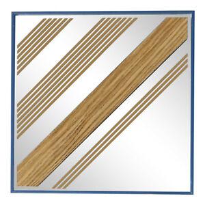 Mark Warren 18x18 Vintage 70s Mirror Geometric Wood + Stripes 1977