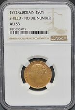 More details for 1872 gold sovereign shield ngc au53 no die number