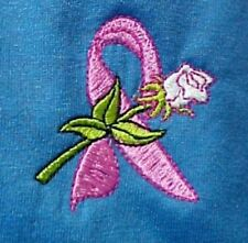 Breast Cancer Pink Ribbon L Rose Blue S/S Crew Neck T-Shirt Unisex Blend New