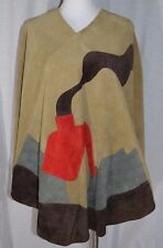 Vintage 1960s Brown Suede Leather Cape with Patchwork House Poncho Bohemian BoHo