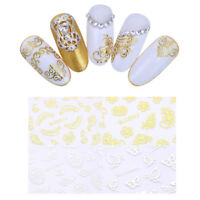 4 Sheets 3D Nail Stickers Gold Sliver Butterfly Stars Cloud Nail Art Decoration