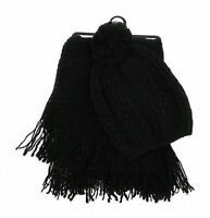 Womens Black Tasseled Rectangle Scarf and Hat Set Winter Casual One Size