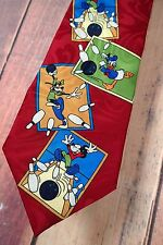 """DISNEY """"Mickey Unlimited"""" Red Multi-Color Bowling Tie Goofy Donald Mickey Strike"""