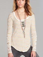 FREE PEOPLE Ivory Combo Stripe Toosalosa Slub Hard Candy Cuff Tee Shirt XS $78