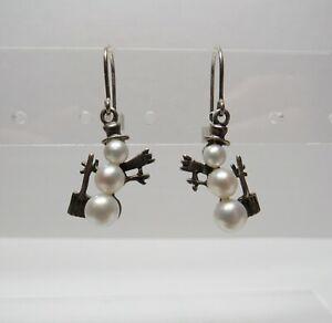 Genuine Silpada Genuine Pearl Sterling Silver Snowman Hook Earrings 925 3.8 Gram