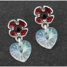 Equilibrium Silver Plated Poppy Dangly Heart Earrings Design for 2018