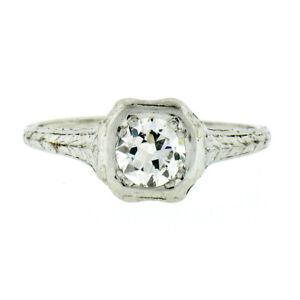 Antique Art Deco Platinum 0.50ct Old European Diamond Solitaire Engagement Ring