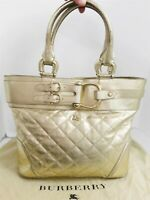 Burberry Gold Metallic Quilted Leather Large Tote Bag Italy