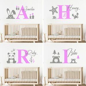 Girls Personalised Wall Sticker Baby Kids Custom Name Nursery Bedroom Decal