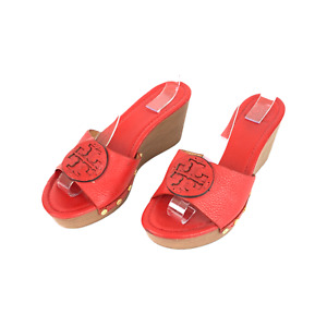 TORY BURCH Size 8 Red Lowell Leather Slip On Gold Studded Wedge Sandals