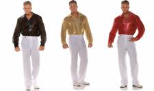 70'S DISCO SEQUIN COSTUME SHIRT DANCE FEVER SATURDAY NIGHT PIMP GOLD BLACK RED