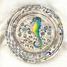 Grand Folk Art Poterie Chargeur Plat Turc Émaillé Plat Hippocampe Signé