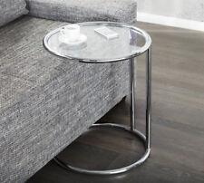 Couchtisch rund silber Beistelltisch Glastisch Glas PLATE Design Tisch Retro