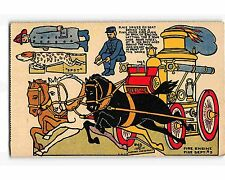 ST2171: NICE THREE HORSE FIRE WAGON & MEN  CUTOUT POSTCARD 1915 CR
