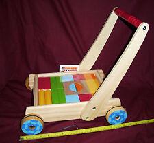 Wooden Baby Walker with Blocks - Brick Cart
