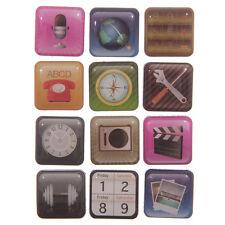 Conjunto de 12 Teléfono Móvil Aplicación Imanes para refrigerador-en Estuche de plástico transparente-nuevo