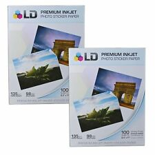 2 LD Glossy Inkjet Photo Paper 8.5 X 11 100 pack - with Sticker High Resolution