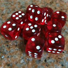 10 pcs Six Sided D6 Transparent 16mm RED RPG DICE- Square Cube Dice Round Corner