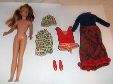 Vintage Mattel Skipper Doll LOT 1963 Red Hair Straight Legs+Clothing Japan