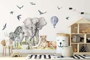 Big Animal Watercolor Wall Decal Set for kids, removable cute safari animals 2