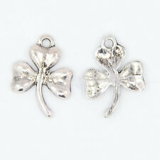 BULK Charms Clover Charms Antiqued Silver Shamrock Wholesale Charms 50pc