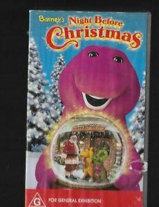 VHS BARNEY'S NIGHT BEFORE CHRISTMAS Song Dance Entertainment Purple Dinosaur Fun