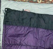 "Coleman Purple Black 33x75"" Nylon Zip Up Sleeping Bag Gray Poly Blend Lining VTG"